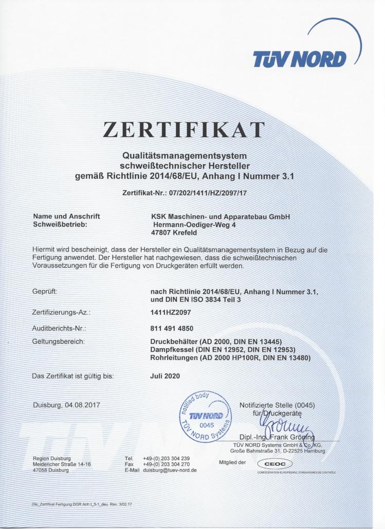 Qualitätsmanagement schweißtechnischer Hersteller