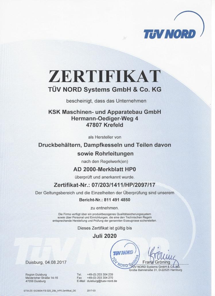 Hersteller von Druckbehältern, Dampfkesseln, Rohrleitungen nach AD 2000-Merkplatzz HP0