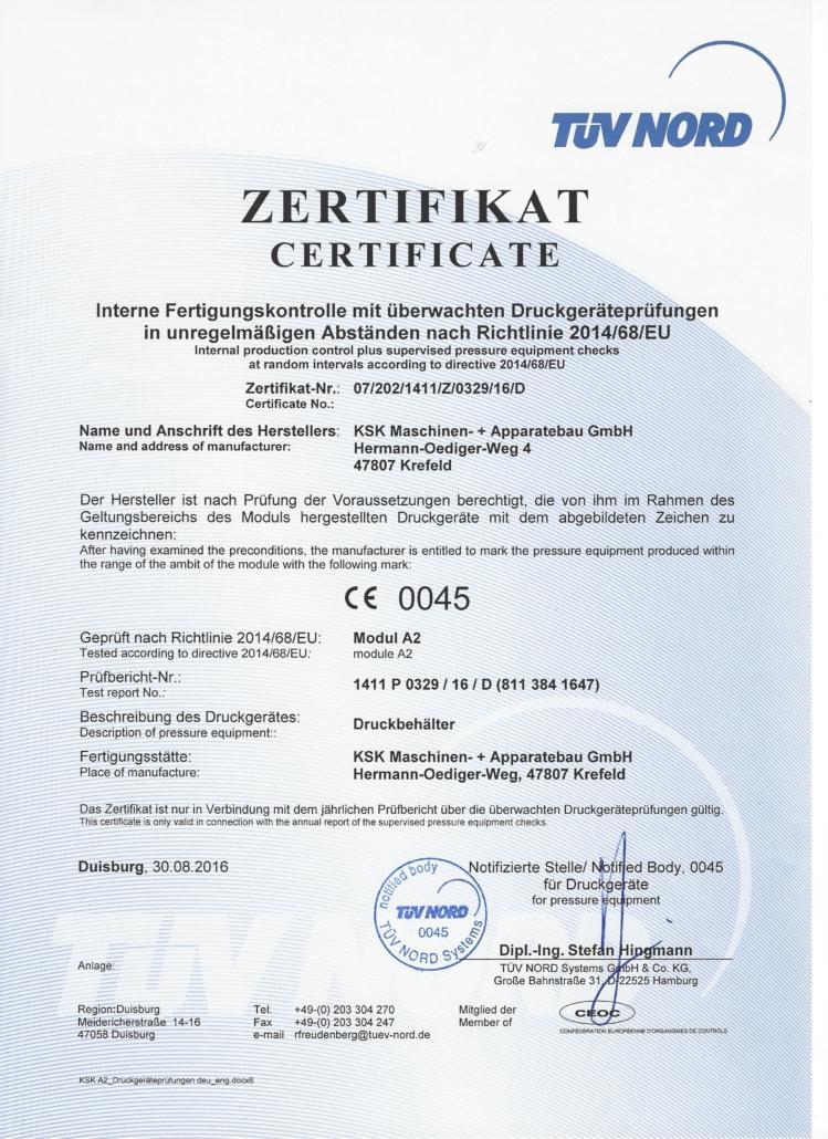Interne Fertigungskontrolle mit überwachten Druckgeräteprüfungen